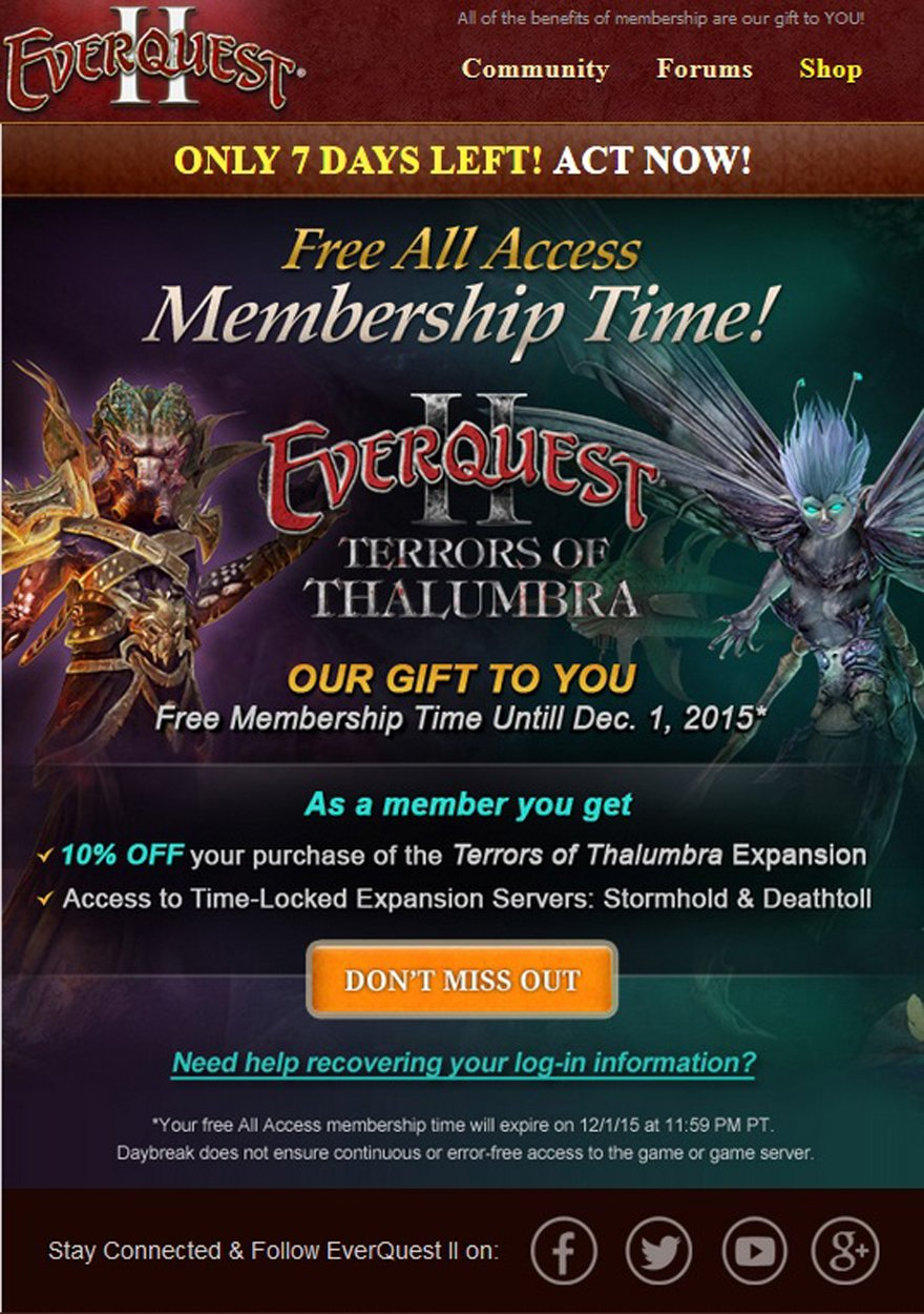 Daybreak gifts two weeks of All-Access membership to