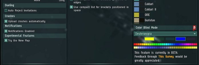 EVE Online introduces colorblindness accessibility options