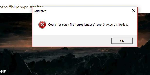 Lotro client crash loop error message.JPG