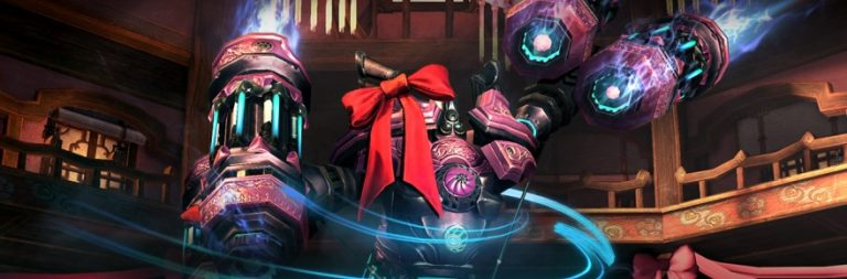 Blade & Soul patches in a fight against a robot