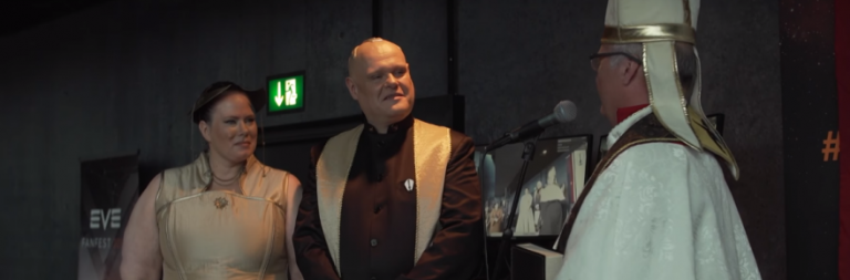 EVE Fanfest 2018: Two EVE players were married by the space pope. Yep.