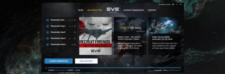 EVE Online's new beta launcher allows custom settings for launching groups of accounts