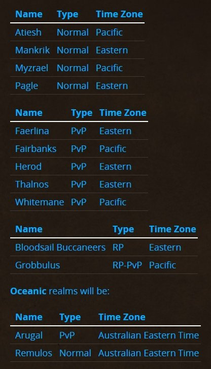 Blizzard reveals server names, rulesets, and name reservation plan