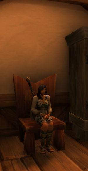 Sitting alone.