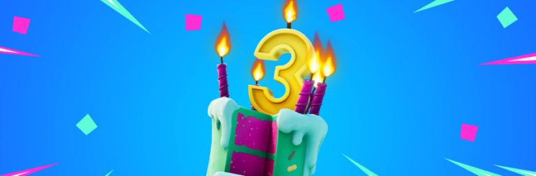 Fortnite celebrates the third birthday of Battle Royale with challenges and free goodies