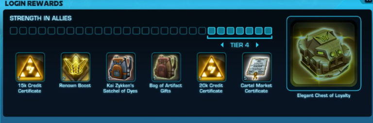SWTOR previews the login rewards and emote window of Update 6.2